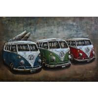 Schilderij - Metaalschilderij - Retro busjes, 80x120cm