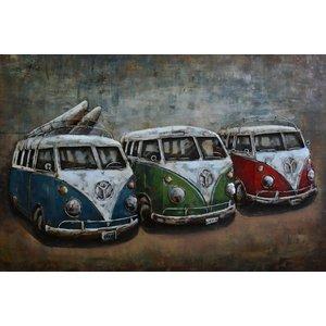 Schilderij - Metaalschilderij - Retro busjes, 180x60cm