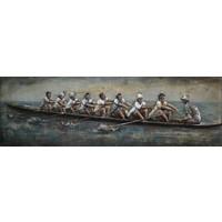 Schilderij - Metaalschilderij - Roeiteam, 180x60cm