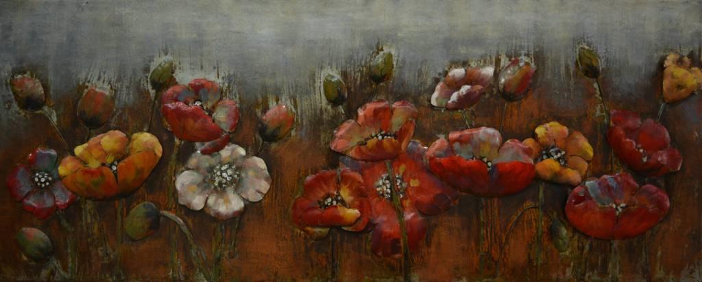 Schilderij - Metaalschilderij - Klaprozen veld, 150x60cm