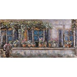 Schilderij - Metaalschilderij - Bloemenmuur, 150x60cm