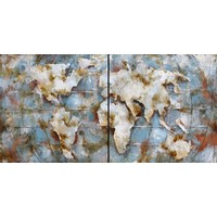 Schilderij - Metaalschilderij - Wereldkaart, 180x90cm, 2luik
