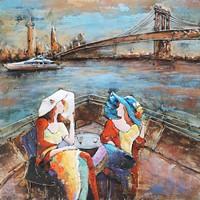 Schilderij - Metaalschilderij - Brunch in New York City, 100x100cm