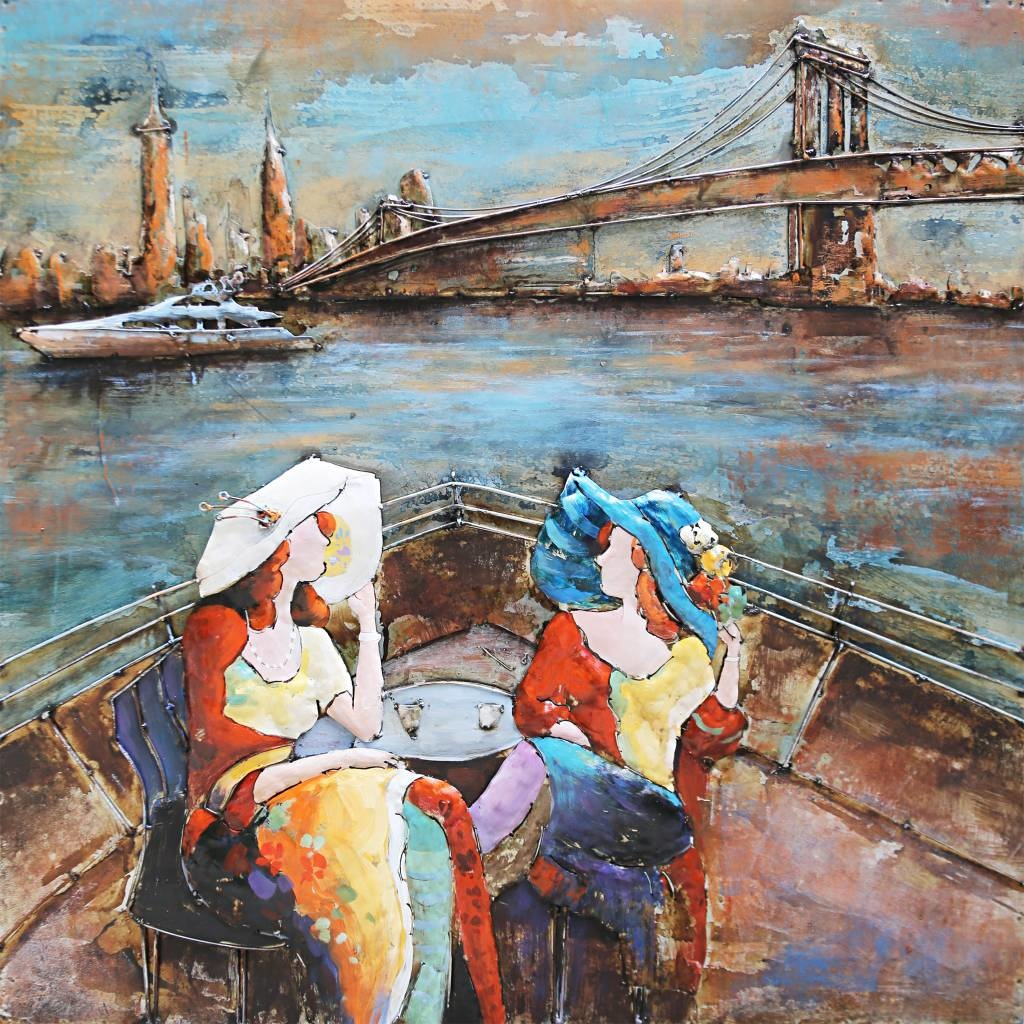 Schilderij - Metaalschilderij - Brunch in New York City, 100x100cm