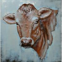 Schilderij - Metaalschilderij - Koe, 80x80cm