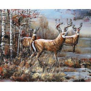 Schilderij - Metaalschilderij - Herten in het bos, 120x80cm