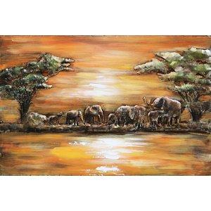 Schilderij - Metaalschilderij - Olifanten in Afrika, 120x80cm