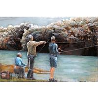 Schilderij - Metaalschilderij - Vissen, 120x80cm