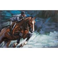 Schilderij - Metaalschilderij - Springpaard, ruiter, 120x80cm
