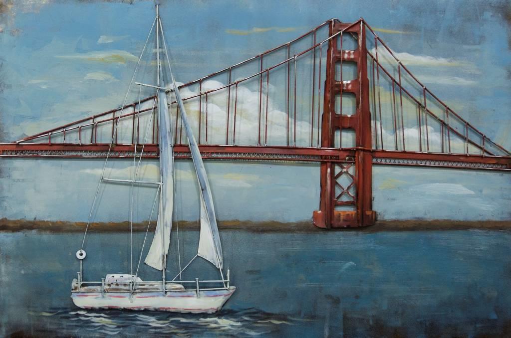 Schilderij - Metaalschilderij - Golden Gate Bridge, 120x80cm