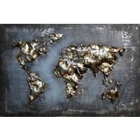 Schilderij - Metaalschilderij - Wereldkaart blauw, 120x80cm