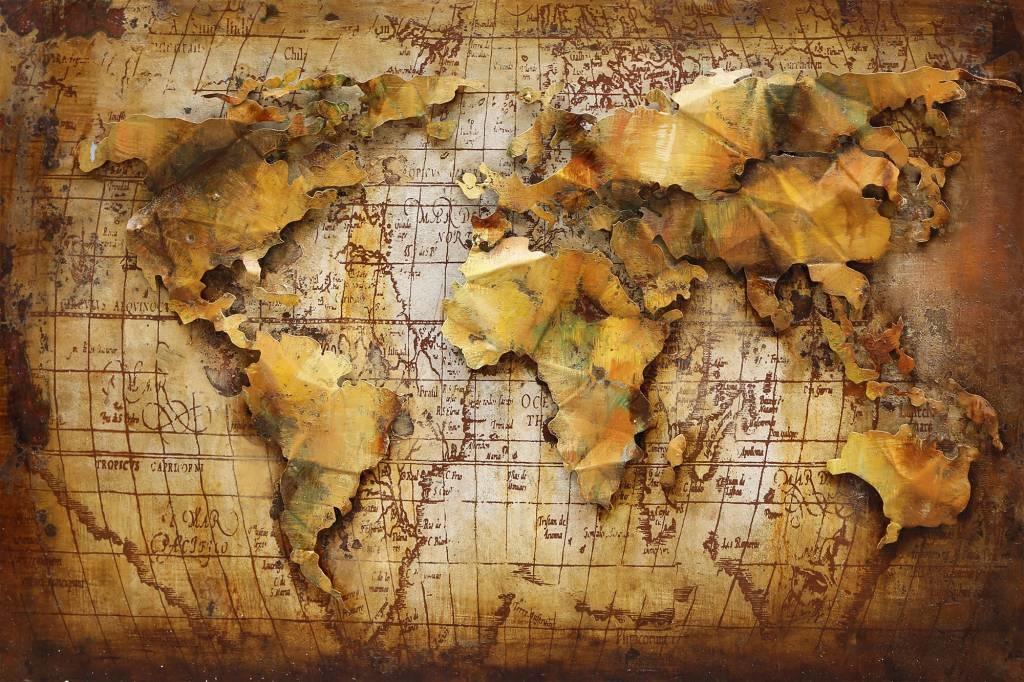 Schilderij - Metaalschilderij - Wereldkaart bruin, 120x80cm