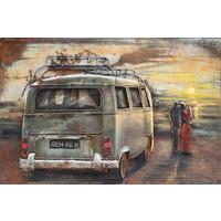 Metaalschilderij - Handgeschilderd - Op date (oldtimer), 120x80cm