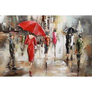 Schilderij - Metaalschilderij - In de regen, 120x80cm