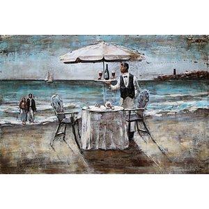 Schilderij - Metaalschilderij - Diner op het strand, 120x80cm