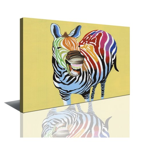 Schilderij - Lachende gekleurde zebra 80x60cm