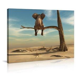 Schilderij - Olifant in de boom 80x60cm