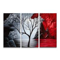 Schilderij - Rode vulkaan berg, 120x80cm, 3 luik