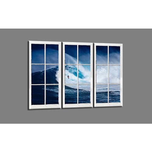 Schilderij - Uitzicht op golf, surfer, 120x80cm, 3 luik