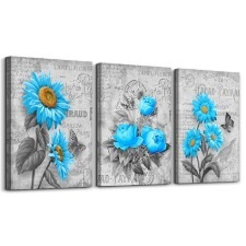 Schilderij - Blauwe bloemen, 120x80cm, 3 luik