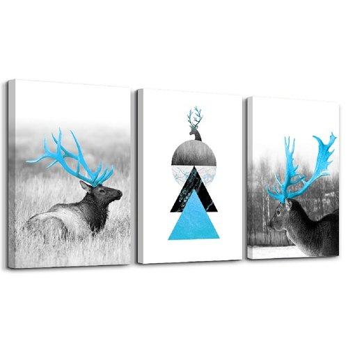 Schilderij - Hert in drievoud, 120x80, 3 luik