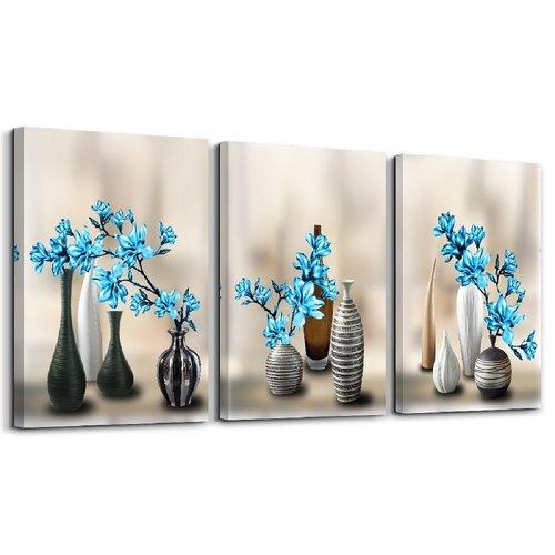Schilderij - Vazen met blauwe bloemen, 120x80cm, 3 luik