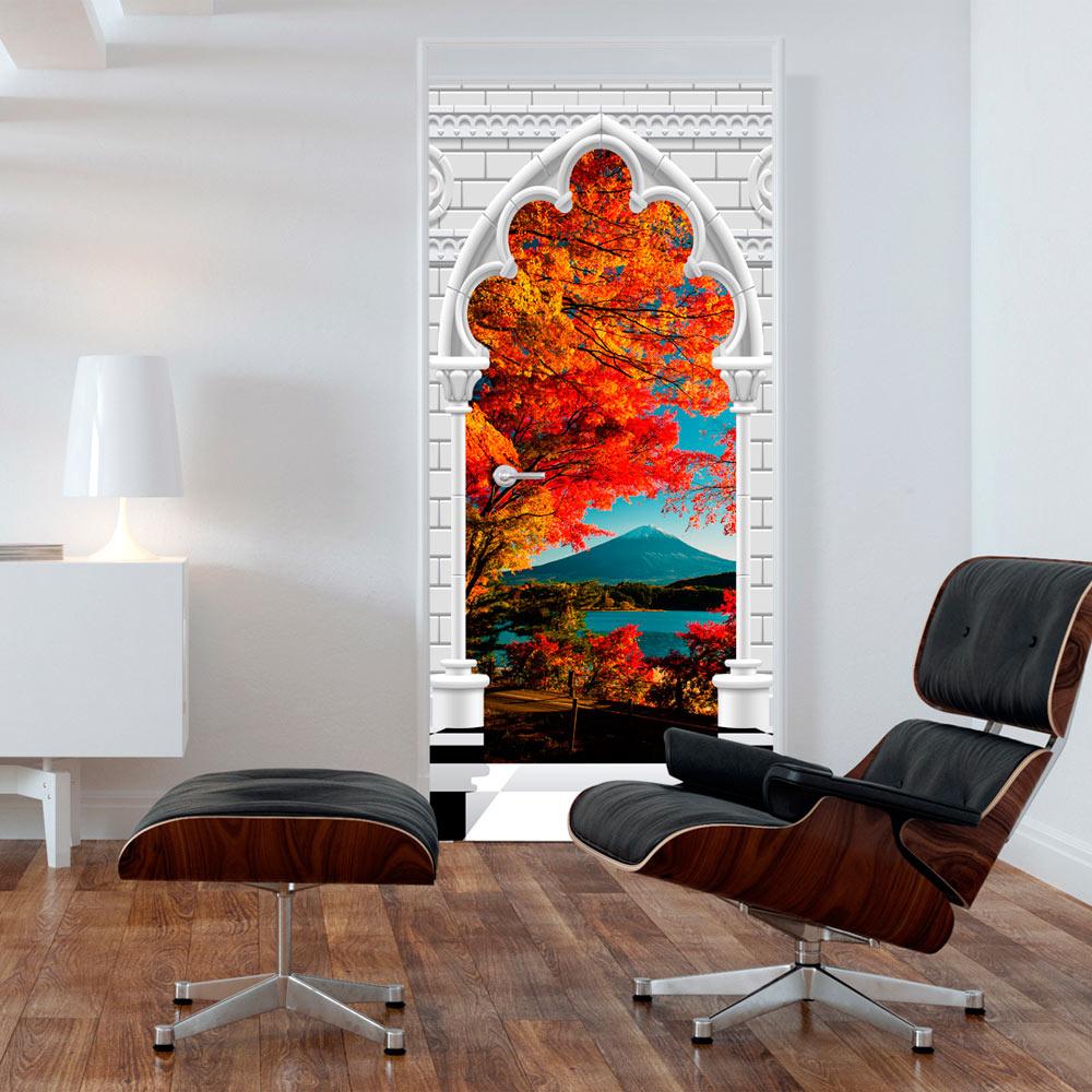 Fotobehang voor deuren - Photo wallpaper - Gothic Arch and Mount Fuji I