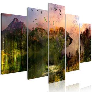 Schilderij - Beren in de bergen, 5 luik