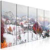 Schilderij - Eerste sneeuw, bergen, 5 luik