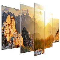 Schilderij - Zonnegroet vanuit de bergen, 5 luik