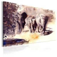 Schilderij - Aquarel Olifanten, op canvas