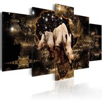 Schilderij - Gouden neushoorn, 5 luik