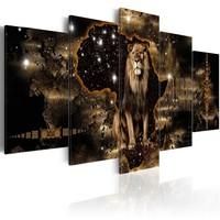 Schilderij - Gouden leeuw, 5 luik