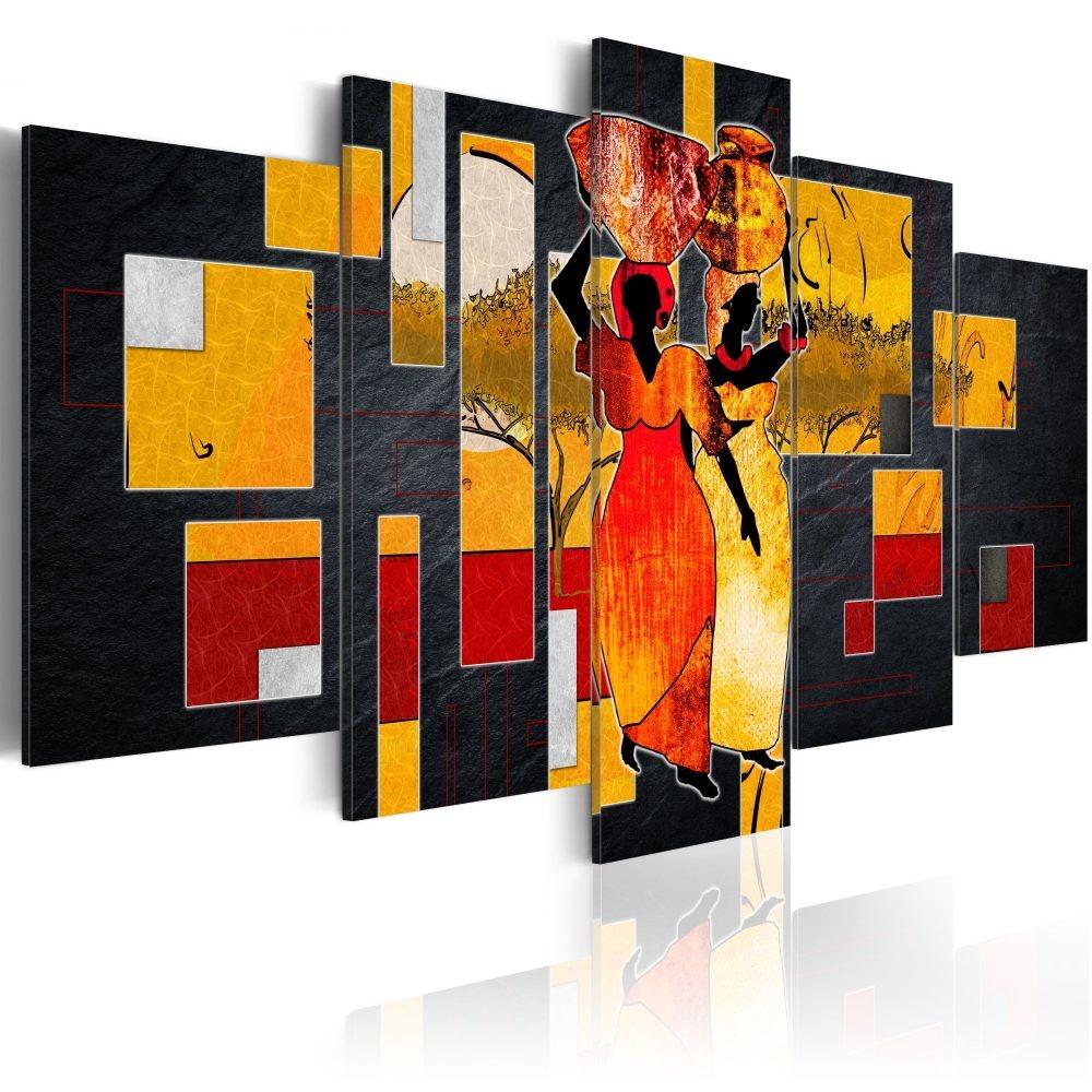 Schilderij - Woestijnwandeling, Afrika, 5 delen
