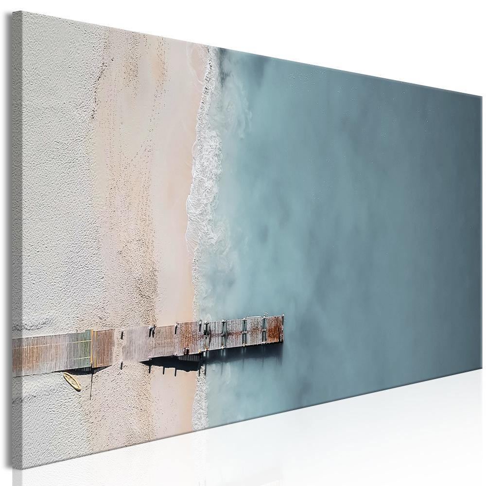 Schilderij - Zee en houten brug van boven