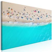 Schilderij - Zonnebaders, zee van boven