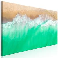 Schilderij - De kust, groen/bruin