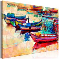 Schilderij - Gekleurde boten, print van handgeschilderd