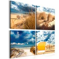 Schilderij - Vakantie aan zee, 4 luik, ook leuk apart op te hangen