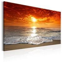 Schilderij - Prachtig strand bij zonsondergang