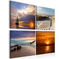 Schilderij - Van zonsopgang tot zonsondergang, 4 delen