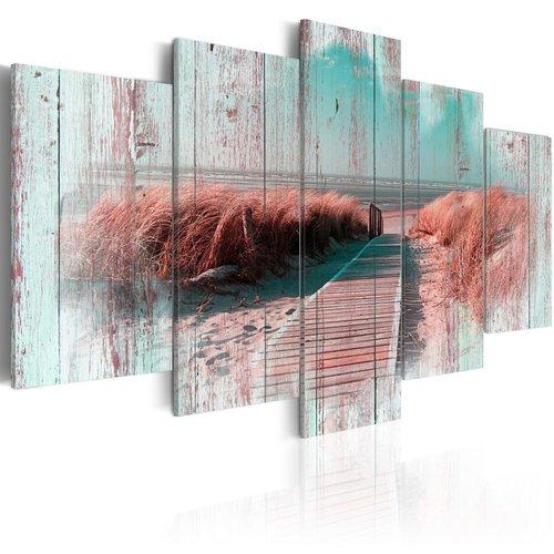 Schilderij - Schaduw van het verleden, Noordzee, 5 luik