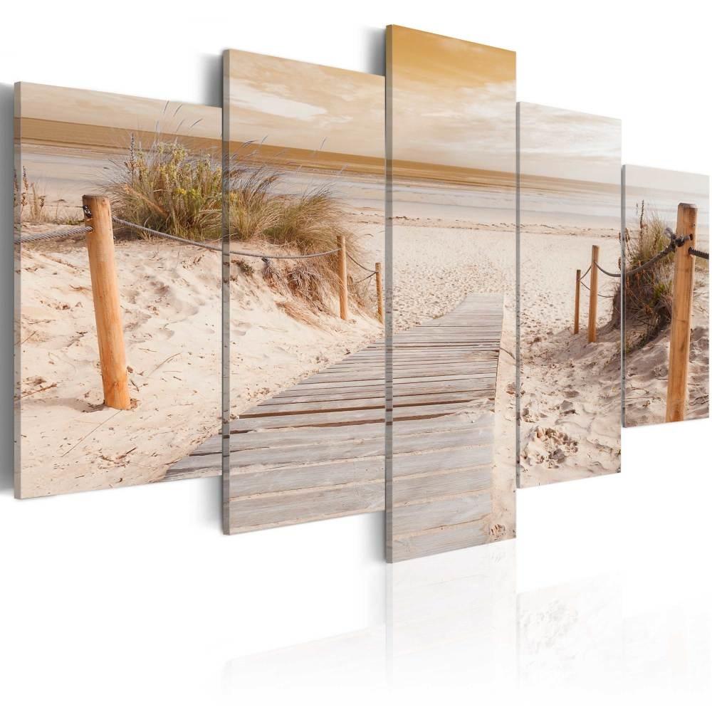 Schilderij - Ochtend aan het strand, sepia, 5luik