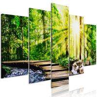 Schilderij - Voetgangersbrug in het bos, 5 luik