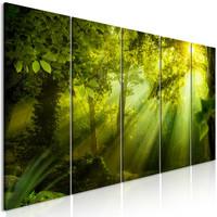 Schilderij - Zonlicht door de bomen, 5 luik