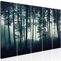 Schilderij - Donker bos, 5 luik