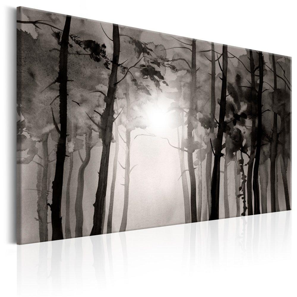 Schilderij - Mistig bos (print van handgeschilderd)