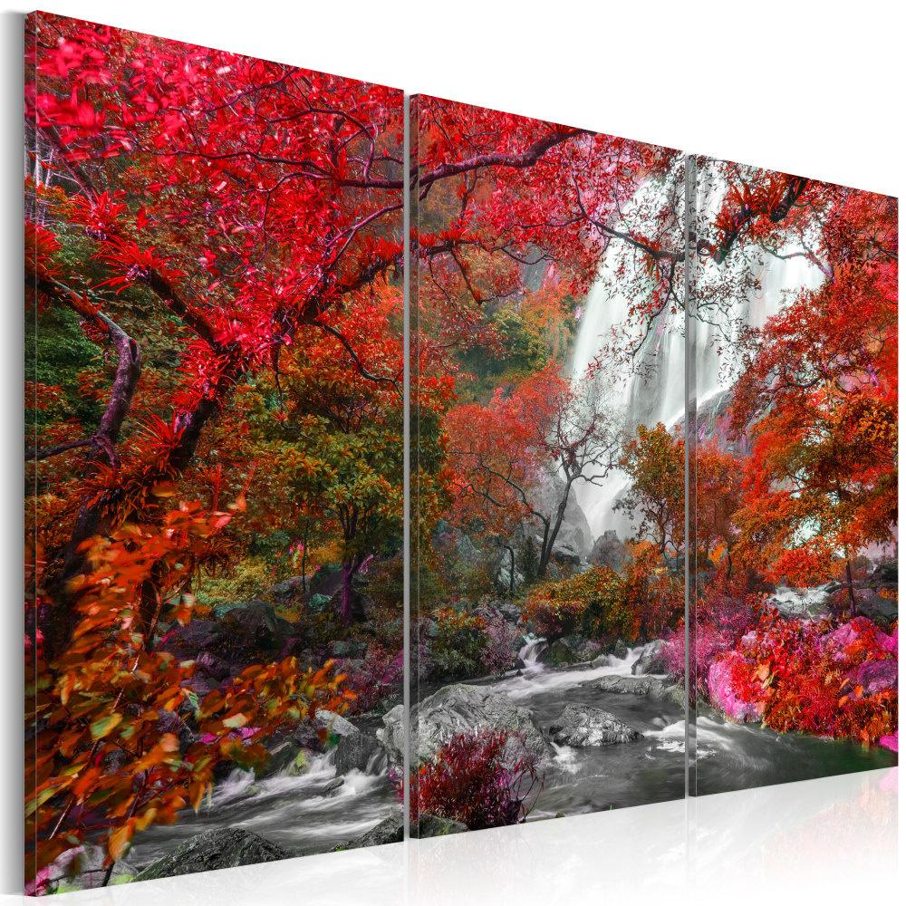 Schilderij - Prachtige Waterval in de Herfst, 3luik