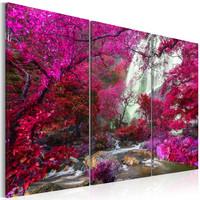 Schilderij - Prachtige Waterval in Roze Bos, 3luik