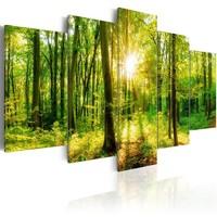 Schilderij - Bos Sprookjes, Groen, 5luik